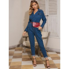 Glamaker Pocket Patch Notched Denim Jumpsuit Without Bag