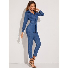 Buckle Belted Collared Skinny Denim Jumpsuit