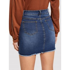 Bleach Wash Distressed Denim Skirt