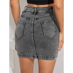 Button Fly Bodycon Denim Skirt