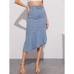 Asymmetrical Ruffle Hem Adjustable Belted Denim Skirt
