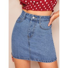 Stitch Detail High Waist Denim Skirt