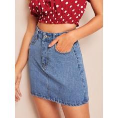 Stitch Detail High Waist Denim Skirt