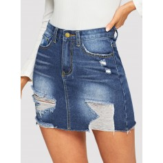 5-pocket Ripped Detail Bodycon Denim Skirt