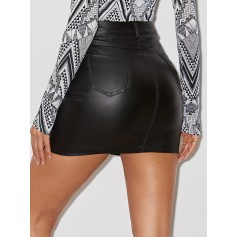 Solid Coated Slim Fitted Denim Skirt