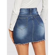 Ripped Raw Hem Button Fly Denim Skirt