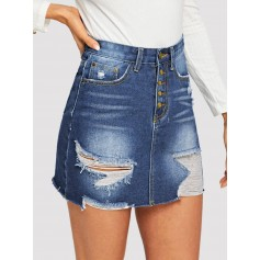 Ripped Raw Hem Button Fly Denim Skirt