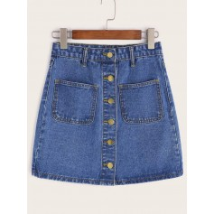 Single Breasted Dual Pockets Denim Skirt
