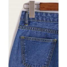 Single Breasted Dual Pockets Denim Skirt