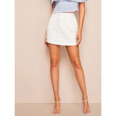 White Wash Denim Skirt