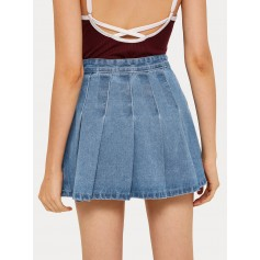 Pleated Flippy Hem Denim Skirt