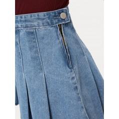 Pleated Flippy Hem Denim Skirt