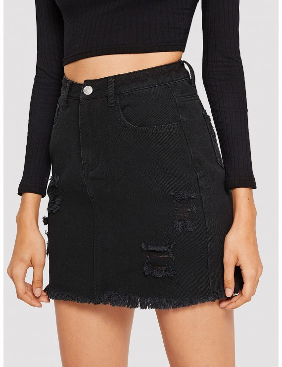 Ripped Detail Frayed Edge Denim Skirt