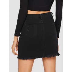 Ripped Detail Frayed Edge Denim Skirt