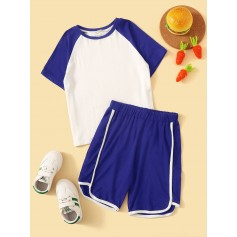 Boys Raglan Print Top & Dolphin Shorts Set