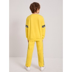 Boys Letter Tape Pullover & Sweatpants Set