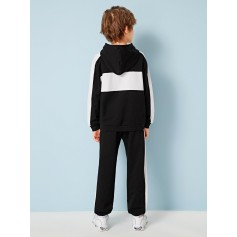 Boys Contrast Sideseam Hoodie and Slant Pocket Sweatpants Set