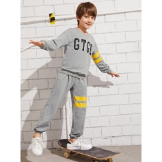 Boys Colorblock Letter Print Striped Hoodie & Pants Set