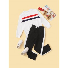 Boys Striped Pullover & Striped Side Joggers Set