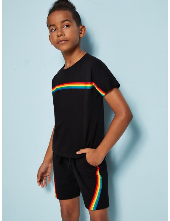 Boys Rainbow Striped Tape Tee & Shorts Set