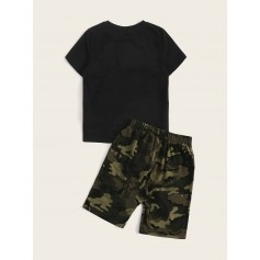 Boys Slogan Graphic Tee & Camo Shorts Set