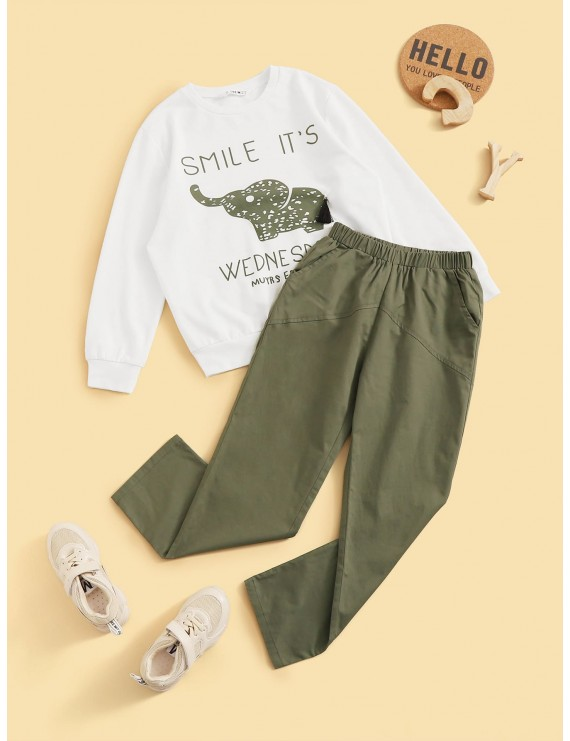 Boys Letter Graphic Pullover & Solid Pants Set