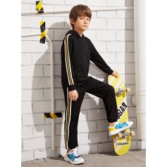 Boys Striped Side Hoodie & Pants Set