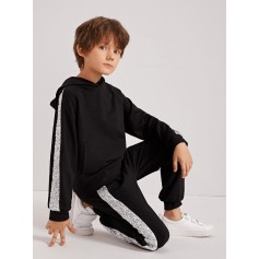 Boys Sequin Tape Side Hoodie & Sweatpants Set