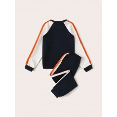 Boys Striped Side Colorblock Sweatshirt & Sweatpants Set