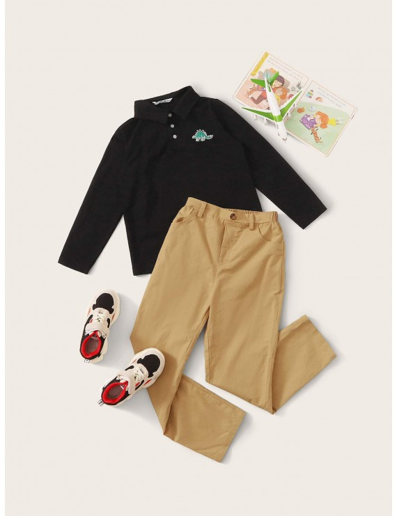 Boys Embroidered Dinosaur Polo Shirt & Pants Set