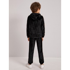 Boys Baroque Print Embroidery Letter Velvet Hoodie & Pants Set