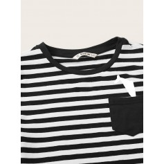 Boys Print Pocket Patched Striped Tee & Shorts Set
