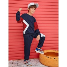 Boys Cut-and-sew Pullover & Pants Set