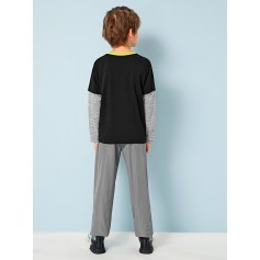 Boys Colorblock Top & Wind Pants Set
