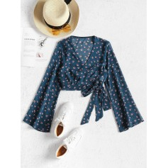 Cropped Wrap Top - Blue Jay S