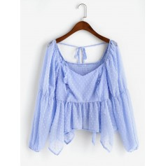 Smocked Back Skirted Handkerchief Swiss Dots Blouse - Light Sky Blue L