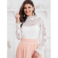 Poet Sleeve Openwork Scalloped Cuffs Lace Blouse - White S
