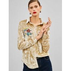 Flower Embroidered Velvet Shirt - Gold M