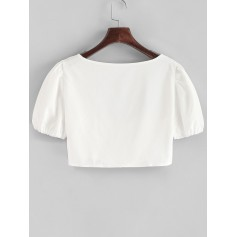 Hook And Eye Crop Solid Blouse - White S