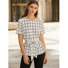 Plaid Loop Button Belted Blouse - White M