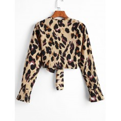 Leopard Knotted Ruffle Cuff Animal Print Blouse - Multi-a S