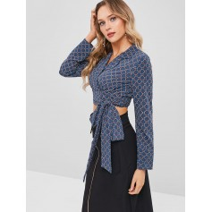 Long Sleeves Printed Self Tie Blouse - Peacock Blue M