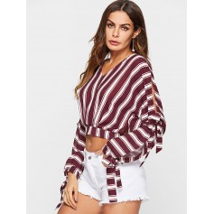 Tie Split Sleeve Striped Flowing Blouse - Red Wine M