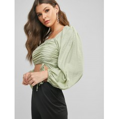 Cinched Square Neck Smocked Lantern Sleeve Blouse - Light Green S
