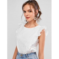 Broderie Anglaise Ruffled Eyelet Casual Blouse - White M