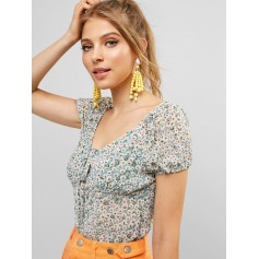 Tied Collar Cropped Floral Blouse - Multi-a M