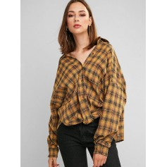 Button Down Plaid Twist Hem Shirt - Orange Gold S