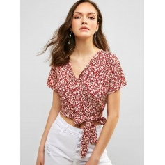 Floral Crop Wrap Blouse - Red Wine S