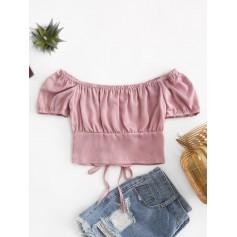 Off Shoulder Lace Up Crop Blouse - Khaki Rose M