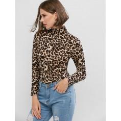 Mock Neck Leopard Bodysuit - Multi-a L